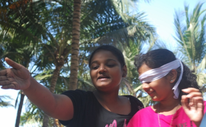 Tank and Driver game:  Ashwini (the driver) guides Jhanvi (the tank)
