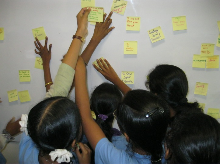 Girls shuffled their ideas round into an order that made sense to them