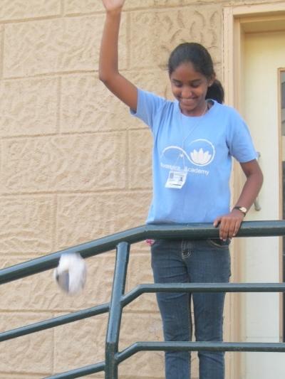 Cynara launches her team's egg