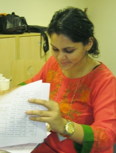 Program Manager Naina registers candidates when they arrive.