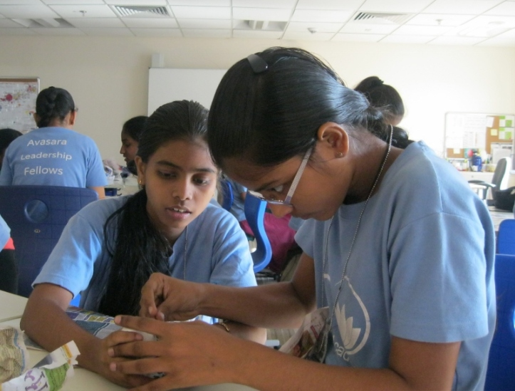 Pallavi and Swarnalata get started on their device
