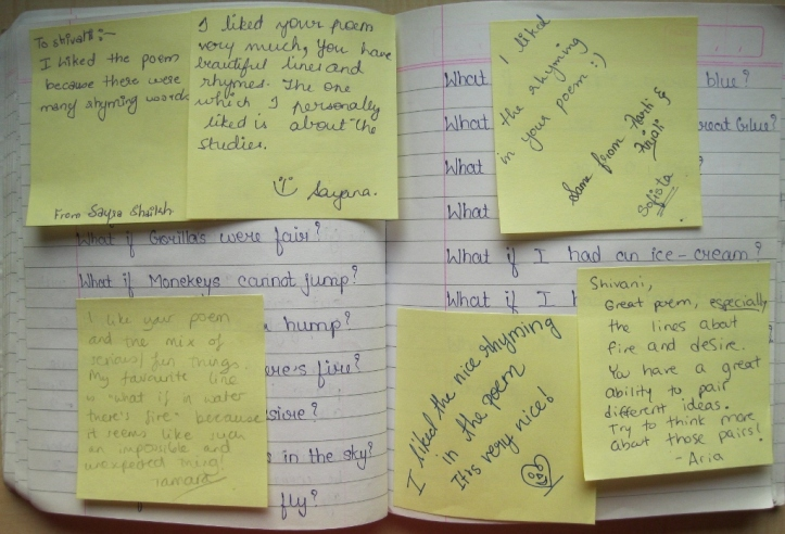 Girls were very enthusiastic about giving each other feedback