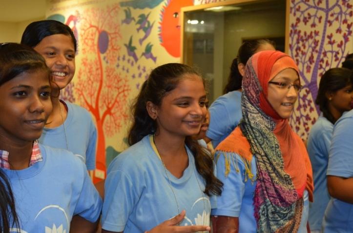 Varsha, Rebeka, Pooja and Madiha enjoy the action!