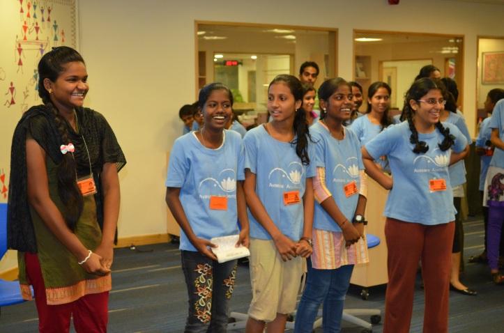Divya, Akshata, Wagiyah, Soniya, Sejal presenting to the whole ALF community