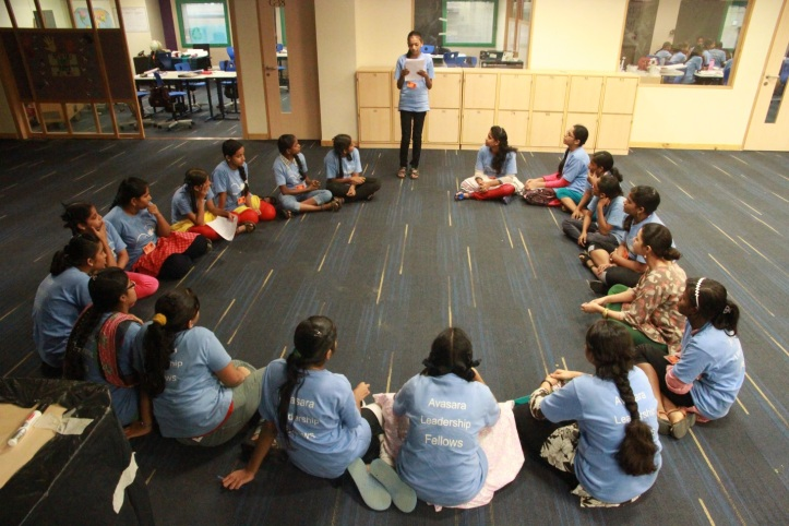 Ashwita sharing in her class