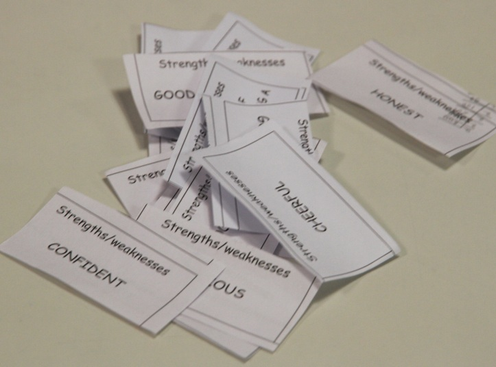 Card Sort Activity: Students sort their strengths and weaknesses and discuss in groups.