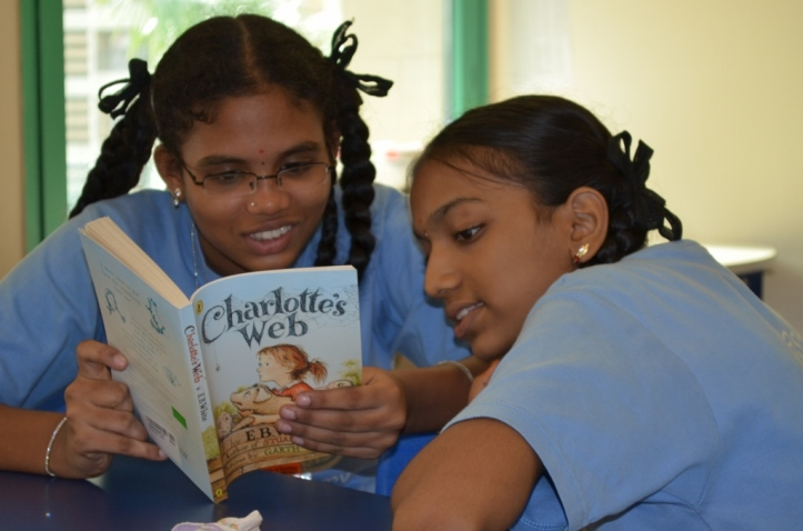 "Meghna and Ashwita enjoying ""Charlotte's Web""."