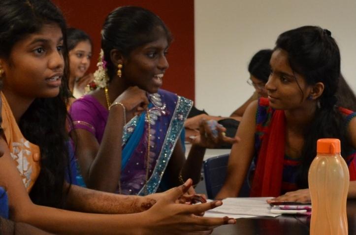 Sneha, Menaga and Monica discuss a leadership case study