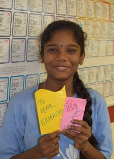 Kamachi (8th Standard) received colourful cards in matching envelopes each day!