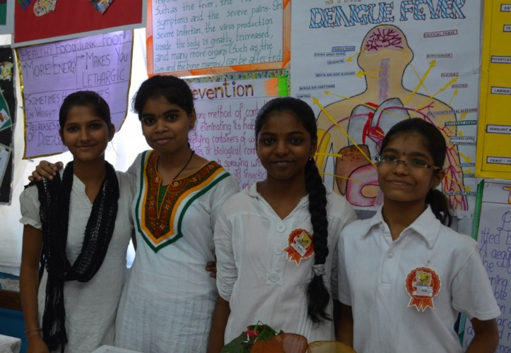 Sweety (left) and Deepti (second from right) with their friends.