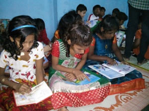 Eager readers rapt in their books