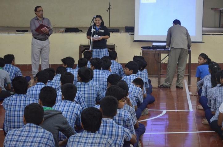 Mansi presenting at Kamla High School