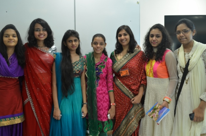 Mangala with some students who had given her a farewell speech