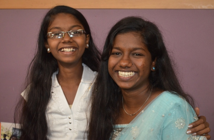 Aarti (9th standard) and her sister Akshata (10th standard)