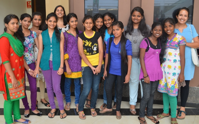 Mangala, Tamara and some of the 10th Standard girls during our cinema trip!