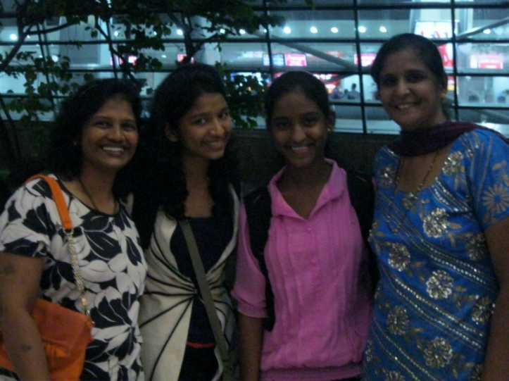 Mothers and daughters.... Nutan and Cynara with their mums at the airport.