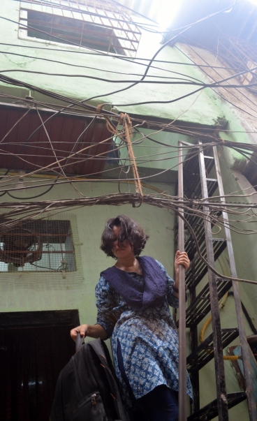 Tanushree descending from the library