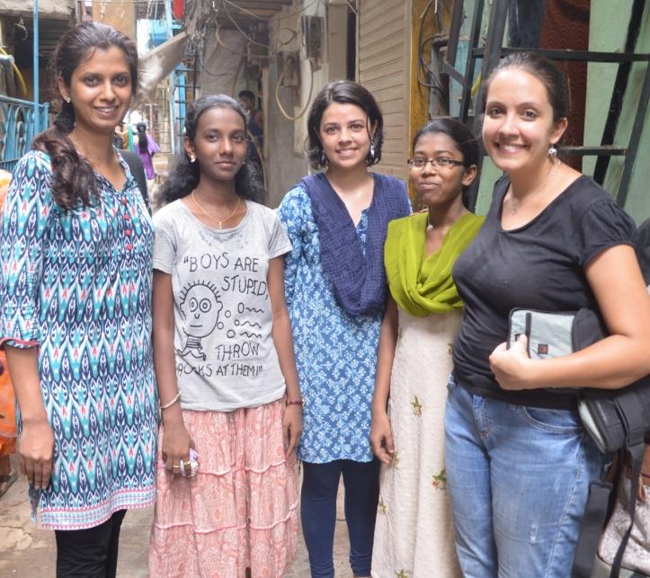 Noopura, Sweety P, Tanushree, Monisha and Tamara tired and sweaty after moving the library
