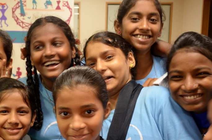 Our new 8th standard students, now in their fourth week with us, and enthusiastic come rain or shine!
