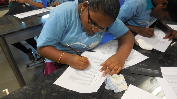 Sujitha drawing her personal constellation
