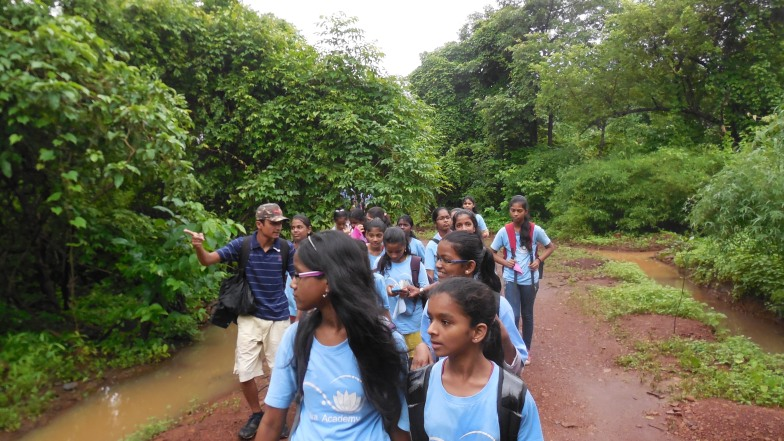 One of the three groups of girls on a trail with our Eco-buddy Yogesh