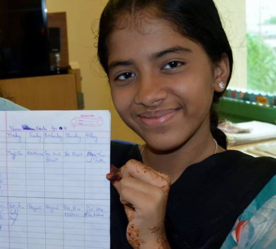 Fahima (and her partner Akanksha) collected nutrition diaries to analyse the nutrition of students in their school.