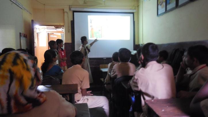 ALF girls presenting in Karmaveer High School