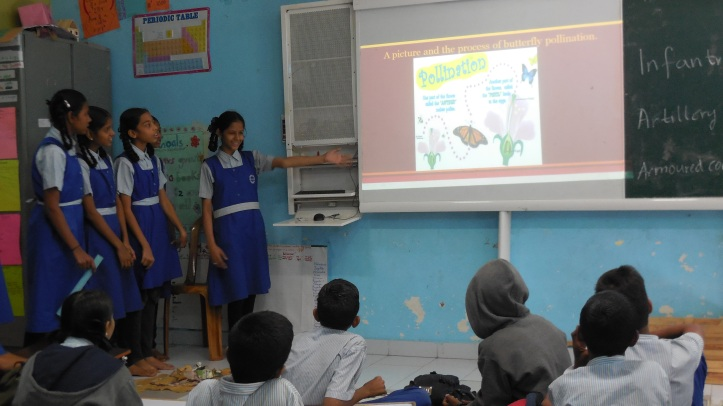 SSRVM girls presenting in their schools