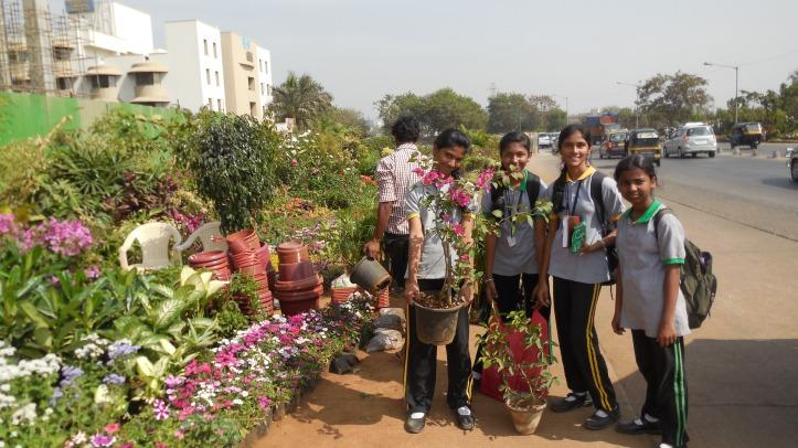 Rashi, Riya, Pragati and Manali buying plants at plant nursery