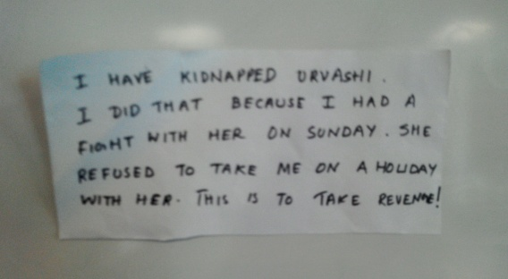The ransom note from the kidnapper