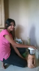 Naaz, making tomato and coriander chutney for everyone