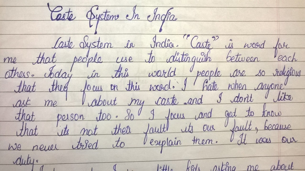 ending discrimination around us the caste system in this is the introduction of her essay