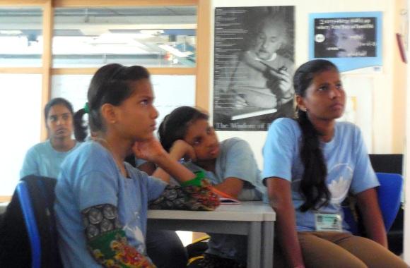 Soni, Sumaiya, Mansi and Aarti engrossed in watching movie Gravity