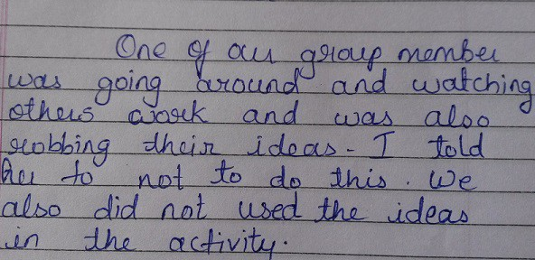 Sonali on how she showed integrity during the activity.